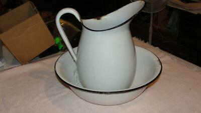 """White Enamelware Water Pitcher & Bowl Basin Set for Wash Stand 12"""" x 11"""""""