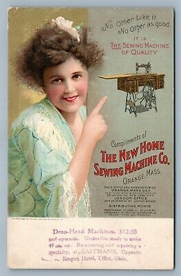 Orange Ma New Home Sewing Machine Company Advertising Antique Postcard