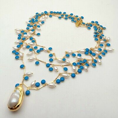 3 Strands 19'' White Rice Pearl Blue Enamel Chain Necklace Keshi PearlPendant