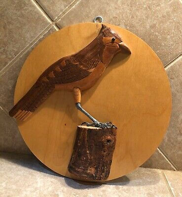 Wooden Hand Carved Blue Jay Bird Wall Decor Signed By Artist Merle Porter