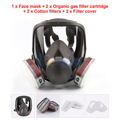 7 in 1 Full Face Chemical Spray Painting Respirator Vapour Gas Mask For 6800 UK