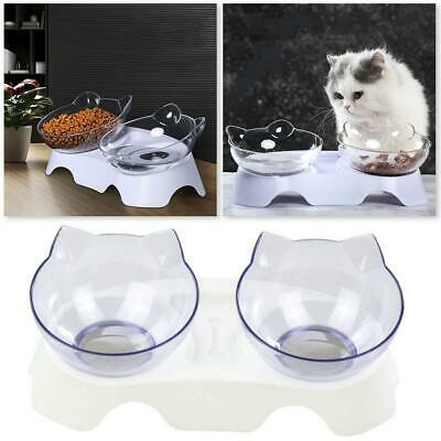 Cat Dog Dish Food Bowl With Stand Elevated Pet Bowls White Detachable Feeding US