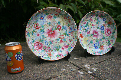 2 Pcs Antique Chinese Porcelain Hand Painted Colourful Flower Plate - Marks