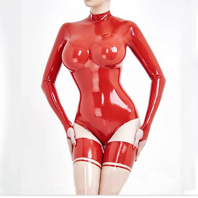 Latex Rubber Catsuit Red Transparent Zipper Sexy Overall bodysuit 0.4mm S-XXL