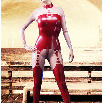 Latex Rubber Sexy Catsuit Red and Transparent Zipper Bodysuit 0.4mm S-XXL