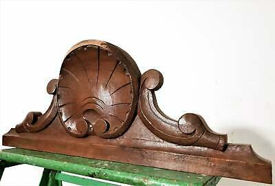 Gothic scroll shell pediment Antique french wooden crest cornice ornament