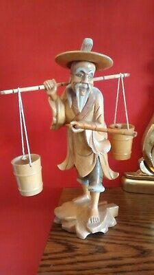 Vintage Antique Hand Carved Wooden Chinese Man Figurine Statue