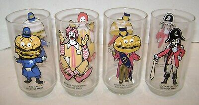 Set Of 4 Vintage Mcdonald's Collector Series Glasses 1970'S