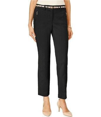 Jm Collection Womens Cropped Belted Casual Trousers