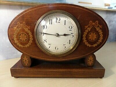 LOVELY ANTIQUE FRENCH MADE MANTLE CLOCK, 225mm WIDE, 170mm HIGH AND 86mm DIAL
