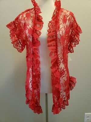 Vintage Fredericks Of Hollywood Bed Jacket Red lace robe NWT