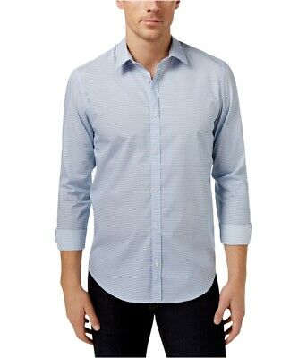 Calvin Klein Mens Pixel Houndstooth Button Up Shirt
