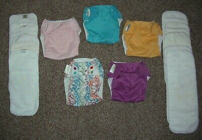 Lot of 5 Bum Genius BumGenius Cloth Diapers & Double Inserts