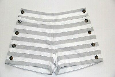 Ann Taylor Loft Striped Riviera Sailor Shorts Gray & Off-White Womens 4