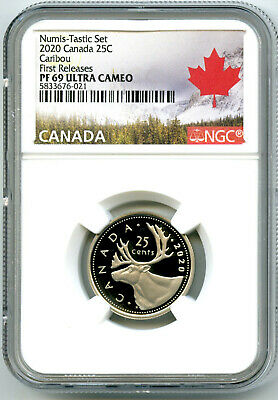 2020 Canada 25 Cent Ngc Pf69 Ucam Numis-Tastic Proof Quarter First Releases