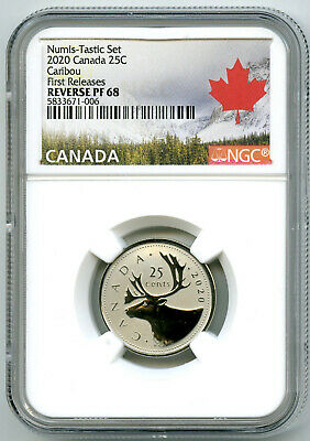 2020 Canada 25 Cent Ngc Pf68 Numis-Tastic Reverse Proof Quarter First Releases