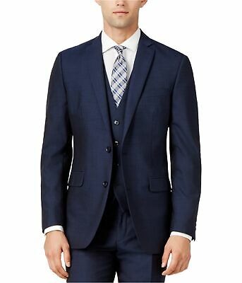 bar III Mens Simple LS Two Button Blazer Jacket, Blue, 38 Long