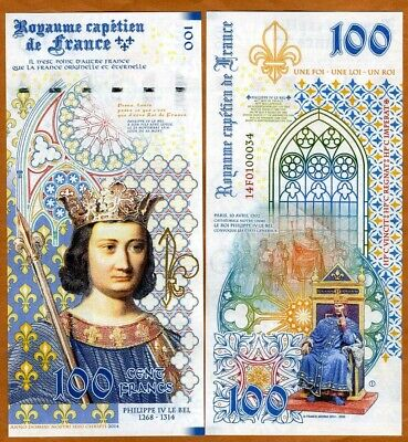 Kingdom of France, 100 Francs, 2020, private Issue, Philip IV