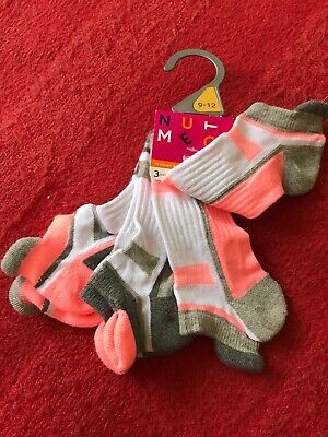 NEW Girls Trainer Socks Size 9-12 EUR 27-30 3-6 Yrs BNWT 3 Pairs Sports Summer