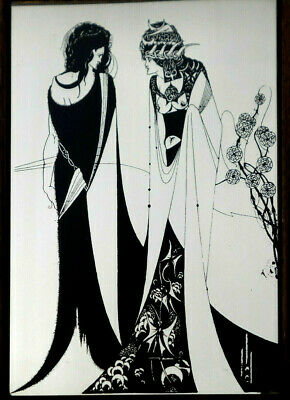 VINTAGE AUBREY BEARDSLEY Salome with Mother ART NOUVEAU GLASS PICTURE MIRROR