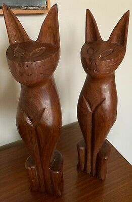 Pair Vintage Siamese Cat Carved Wood Sculptures Figurines Mid Century Modern
