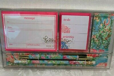 Lilly Pulitzer Desk Accessory Set Flamingo Pattern Retail $26.00 NWT
