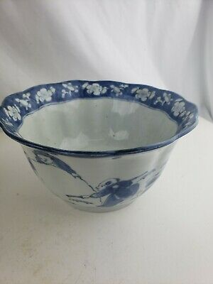 Large unusual antique chinese blue and white bowl, excellent