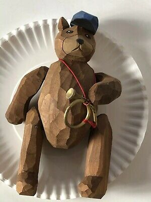 Vintage Hand Carved Wood BUGLE BOY Teddy Bear USA CAP Jointed W Bands Arms/Legs