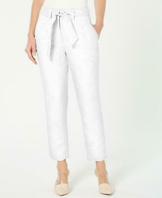 Calvin Klein 0309 Size 10 NEW White Solid Skinny-Leg Pants 2-Pockets Belted $99