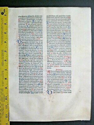 Extremely rare incunabula,Breviary leaf on vellum,handpt.initials,Jenson,1478#8N