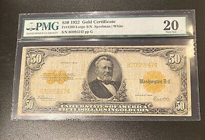 1922 $50 Large Gold Certificate FR#1200 PMG 20 Very Fine