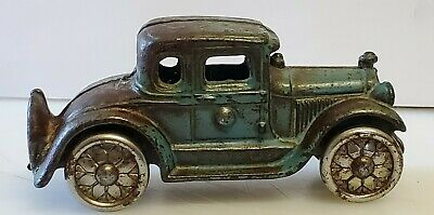 Antique Cast Iron Arcade Williams Hubley Toy Car Nickel Plate Wheels 4 1/4""