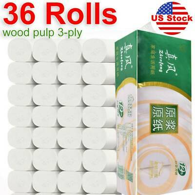 36 Rolls Toilet Paper Bathroom Tissue Paper Towels Rolls Strong White Soft 3 Ply