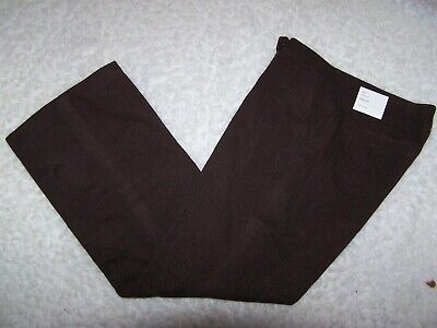 "Calvin Klein Womens Classic Fit Dress Pants Brown Lined 12 Soft 33"" Inseam NWT"