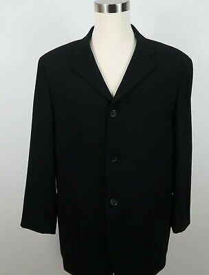 Pronto Uomo Mens All Wool LS 3 Button Solid Black Lined Suit Jacket Blazer XL