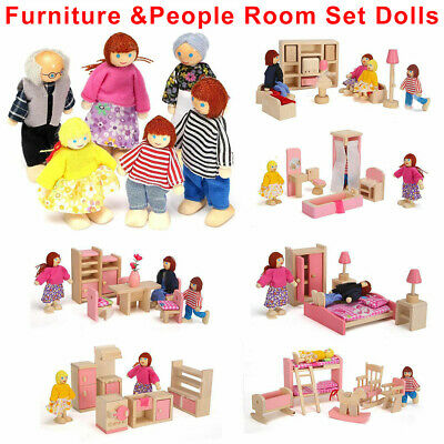 Dolls House Furniture Wooden Set Miniature 6 Room People Doll Toys Kids Children