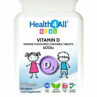 Health4All Kids Vitamin D3 600iu Chewable Tablets Orange Flavour | 3 to 12 years