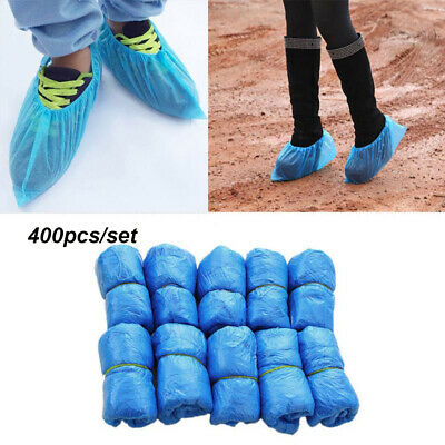 400PCS Waterproof Boot Covers Plastic Disposable Shoe Covers Overshoes Blue