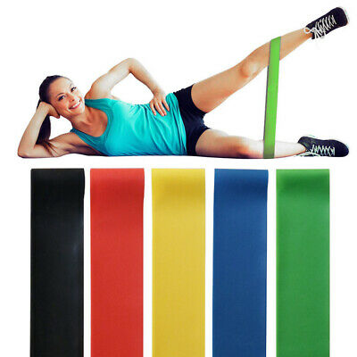 Resistance Bands Loop Singles Home Workout Exercise Glutes Yoga Pilates 5 PCS UK