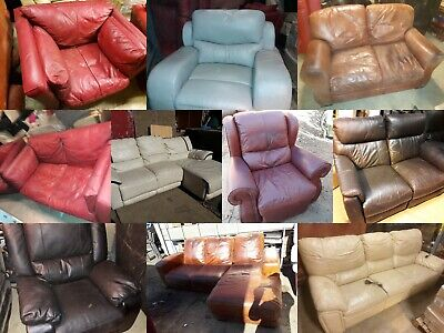 Large Job Lot Of 10x Leather SOFAS / ARMCHAIRS For EXPORT / WHOLESALE