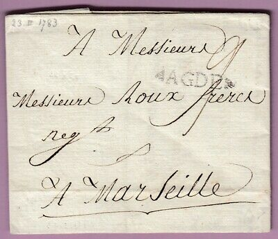 Marque Agde Herault 1783 Ln°8 Marseille Lettre Cover