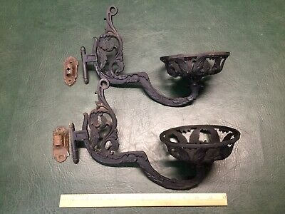 Pair of Antique Victorian Cast Iron Wall Mount Oil Lamp Holders w/ Brackets