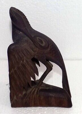 India Vintage hand carved wooden Bird very fine work of carving in wings #C-234