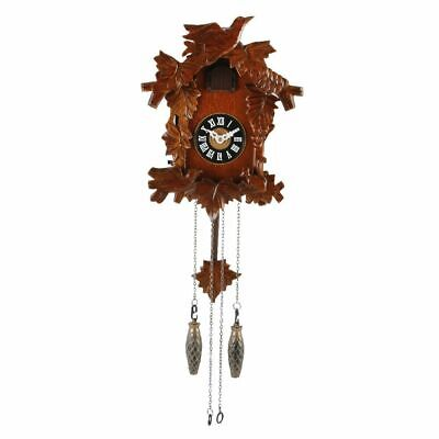 Small Carved Wood Cuckoo Wall Clock.new.wooden,Auto Night Off & Volume Control