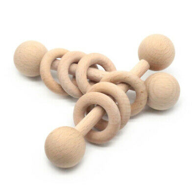Baby Wooden Rattle Chewing Toy Baby Ring Toy Molar Teether Ring Playing Toy