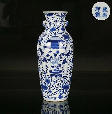 Antique Chinese Blue and White Porcelain Twin Handled Vase KANGXI Mark 19th C
