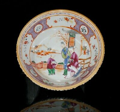 Antique Chinese Famille Rose Export Porcelain Fluted Bowl QIANLONG 18th C QING
