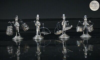 Antique Chinese Hong Kong Sterling Solid Silver Figurine Group Hallmarked QING