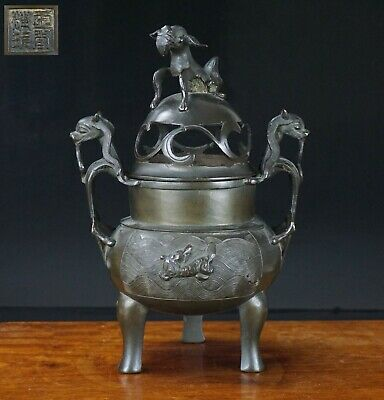 Chinese Antique Bronze MING style Censer Incense Burner & Cover Marked