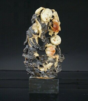 LARGE Antique Chinese Soapstone Carved Figurine Group He-He Er Xian 19th C